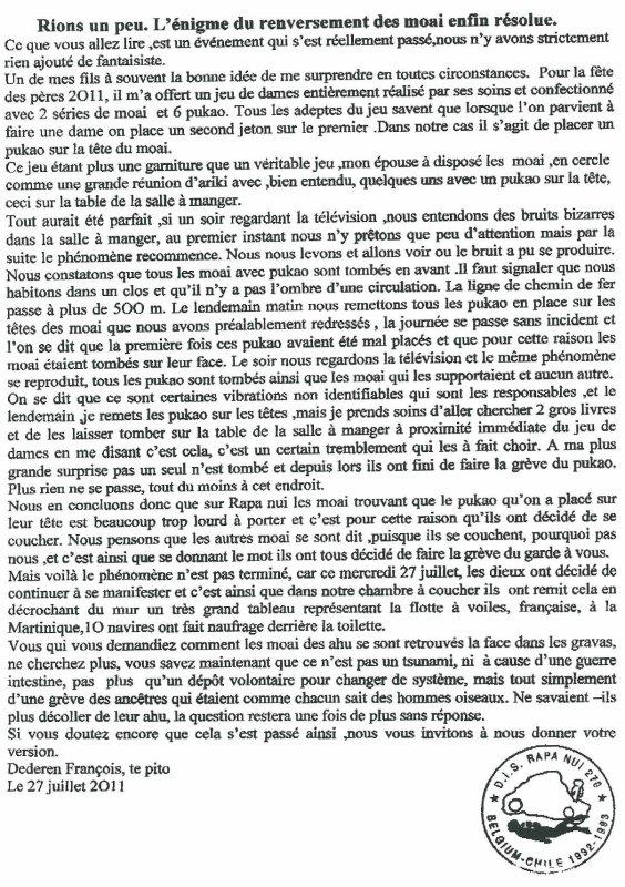 "110e article de FD: ""Rions un peu: l'énigme du renversement des moai enfin résolue"" (2/2)"