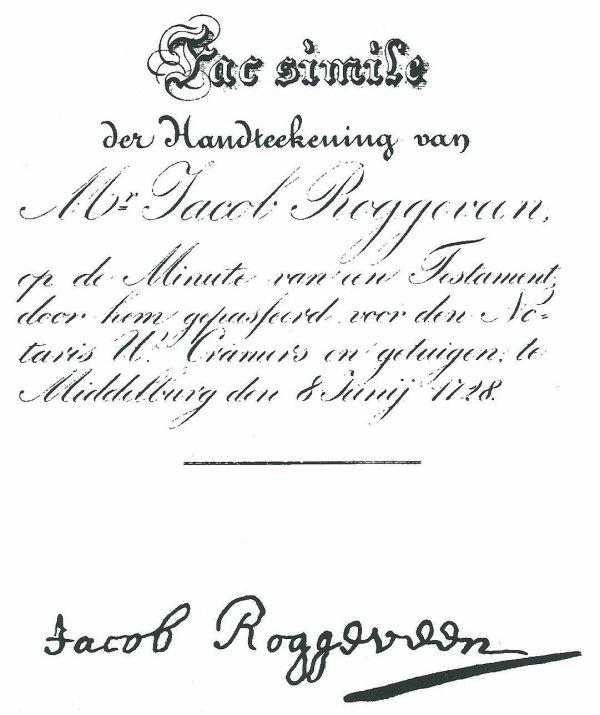 Jacob Roggeveen (autographe)