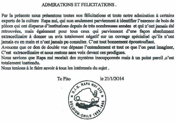 """Note de François Dederen: """"Admirations et félicitations"""""""