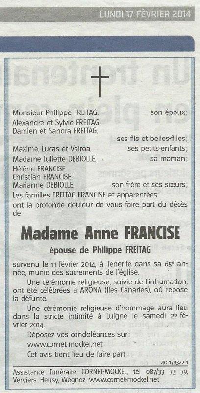Décès d'Anne Francise (* 09/09/1949 + 11/02/2014)