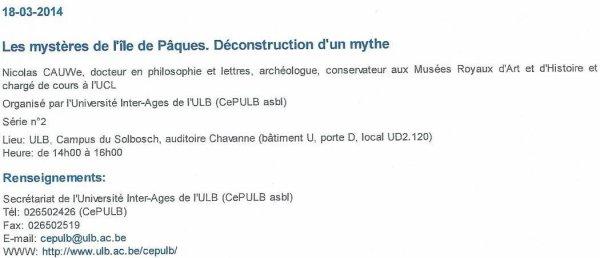Conférence de Nicolas Cauwe le mardi 18/03/2014 de 14h00 à 16h00 à l'ULB (Bruxelles)
