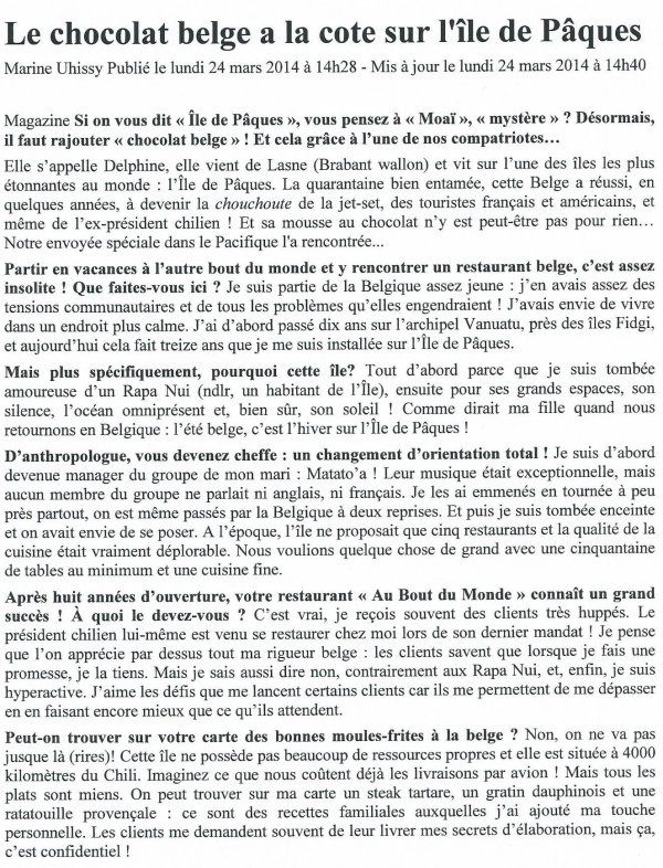 """""""Le chocolat belge a la cote sur l'IDP"""" - """"lalibre.be"""" (24/03/2014)"""