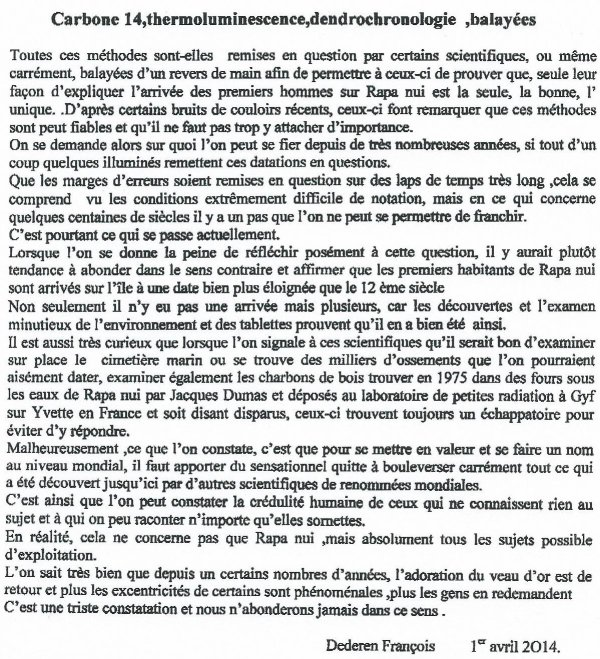 "218e article de FD: ""Carbone 14, thermoluminescence & la dendrochronologie balayées"""
