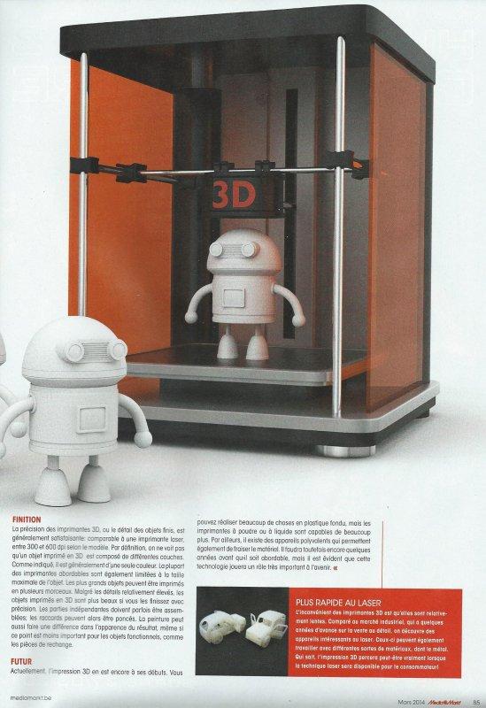 "Imprimantes ""3D"" (revue ""Mediazine"" - mars 2014)"