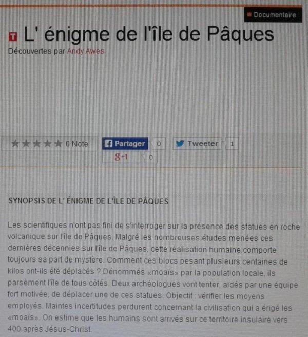 """""""L'énigme de l'île de Pâques"""" sur France 5 de 16h35 à 17h30 le vendredi 23/05/2014"""