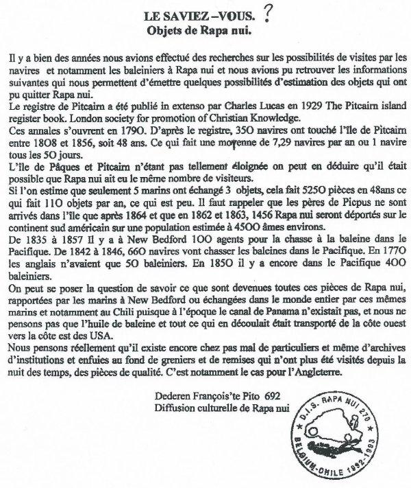 """224e article de FD: """"Le saviez-vous ? (objets de Rapa Nui)"""""""