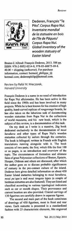 Rapa Nui Journal (mai 2014) > article sur le livre de Te Pito
