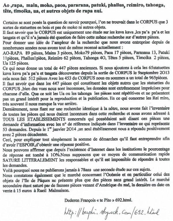 """225e article de FD: """"Ao, rapa, ... et autres objets de Rapa Nui"""""""