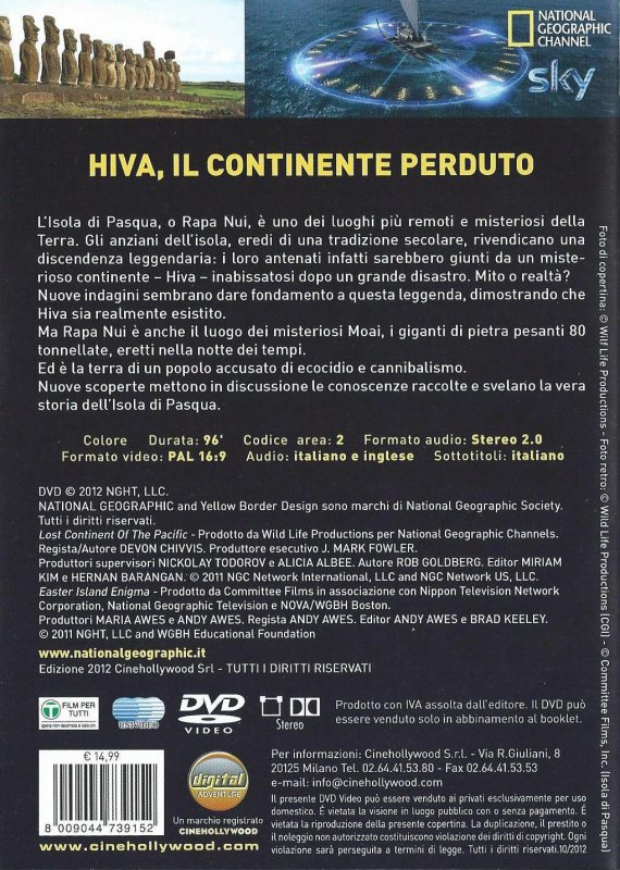 "DVD du National Geographic: ""Hiva, le continent perdu"""