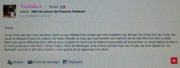 Réponse de François Dederen à 2 commentaires concernant ses 13e & 74e article