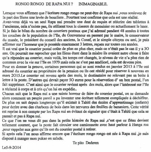 "233e article de FD: ""Rongo rongo de Rapa Nui ? Inimaginable !"""