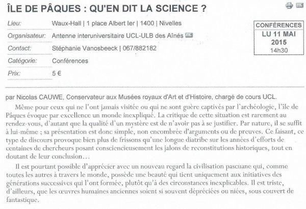 Prochaines conférences sur l'île de Pâques (2014/2015)
