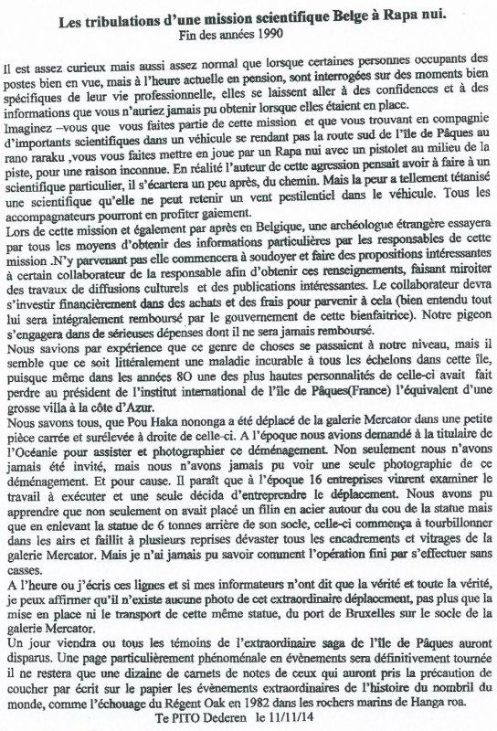 """237e article de FD: """"Les tribulations d'une mission scientifique belge à Rapa Nui - fin des années 1990"""""""
