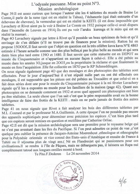 """Remarques de François Dederen à propos du livre """"L'Odyssée pascuane"""" (11/2014)"""