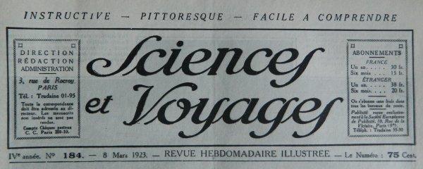 """Revue """"Sciences et Voyages"""" n° 184 du 08/03/1923"""