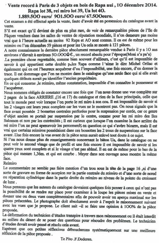 Sotheby's - Arts d'Afrique et d'Océanie - Paris - 10/12/2014 - résultat des ventes pour l'IDP