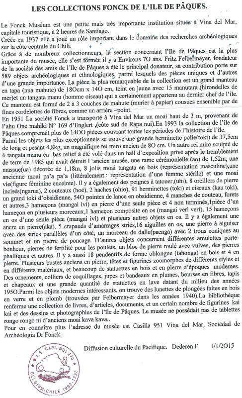 """242e article de FD: """"Les collections Fonck de l'île de Pâques"""" - 1"""