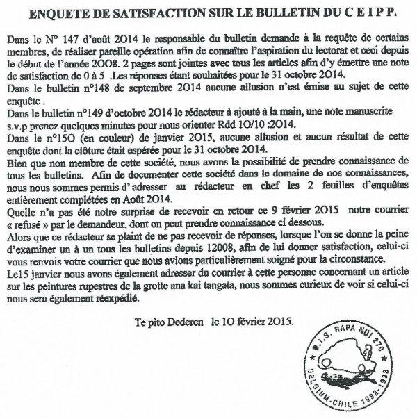 Enquête de satisfaction sur le bulletin du C.E.I.P.P.