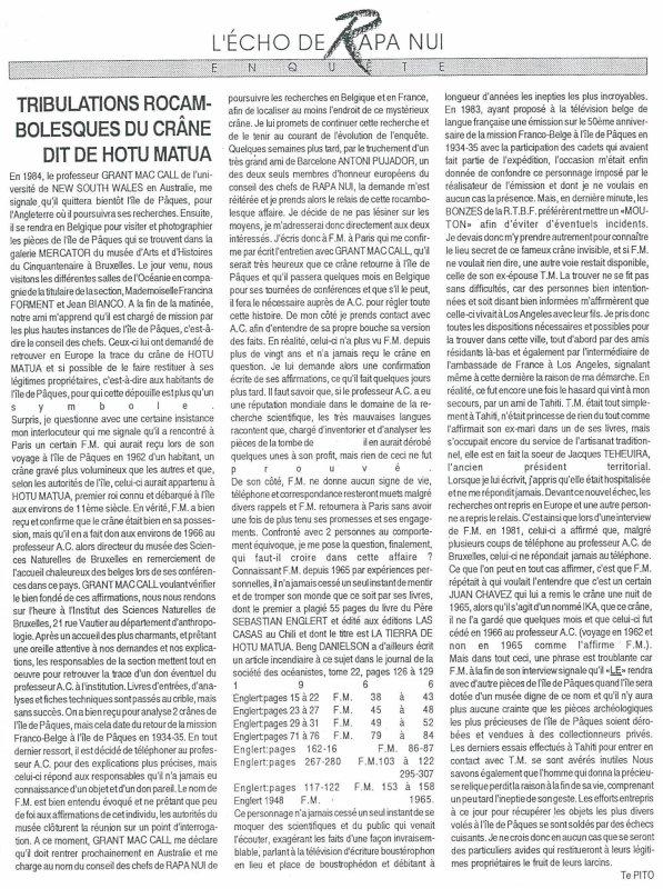"""Le crâne de Hotu Matu'a en France"" > France culture du 30/09/2014"
