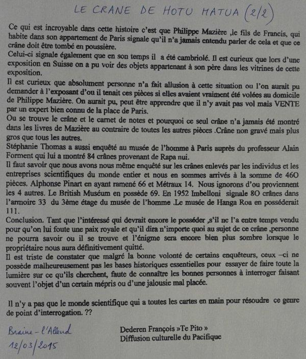 "248e article de FD: ""Le crâne de Hotu Matu'a"""