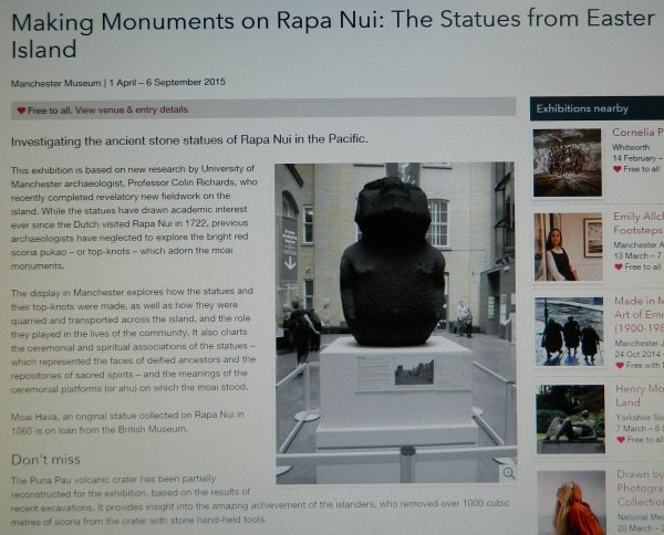 "Exposition: ""The Making Monuments on Rapa Nui"" à Manchester (01/04 > 06/09/2015) - 1"
