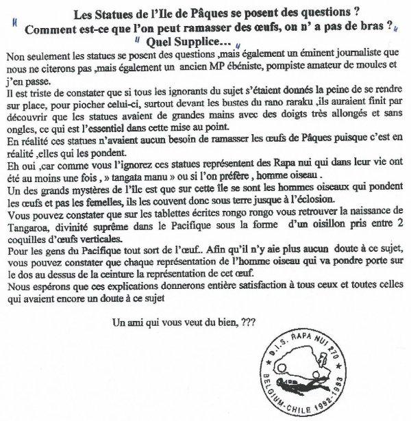 """250e article de FD: """"Les statues de l'IDP se posent des questions"""""""