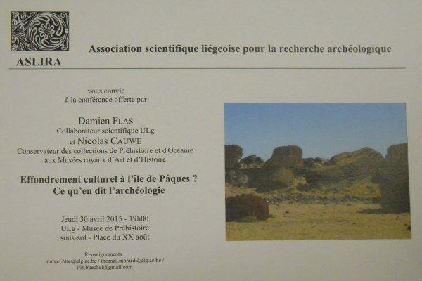 2 conférences sur l'île de Pâques (30/04/2015 à Liège & 11/05/2015 à Nivelles)