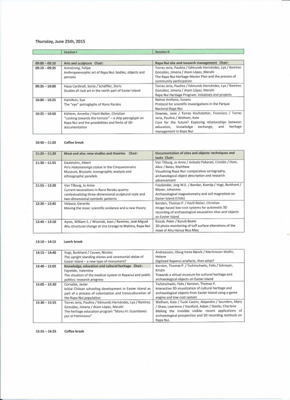 9th International Conference Easter Island and the Pacific (Berlin 2015) - Programme