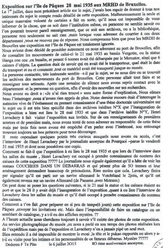 """257e article de FD: """"Exposition sur l'IDP le 28/05/1935 aux MRAH de Bruxelles"""""""