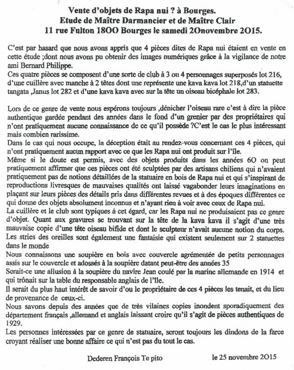 """271e article de FD: """"La vente d'objets de Rapa Nui (?) du 21/11/2015 à Bourges"""""""