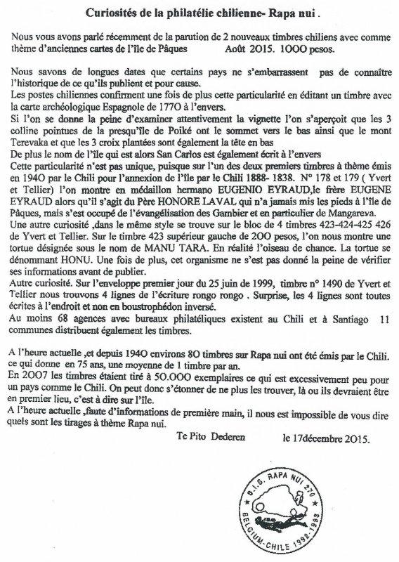 """277e article de FD: """"Curiosité de la philatélie chilienne - Rapa Nui"""""""
