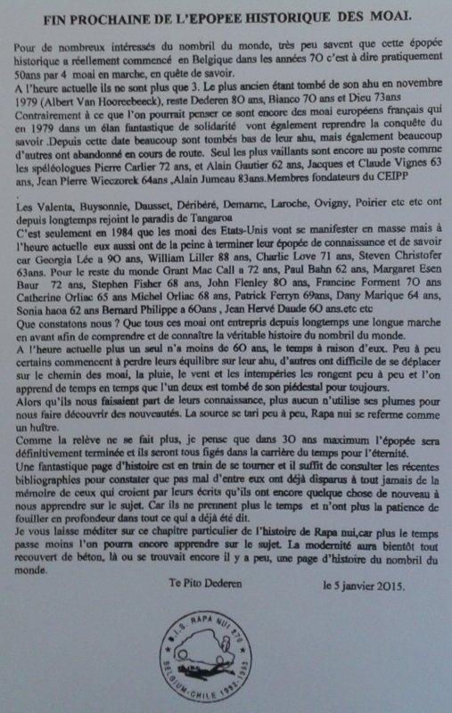 """278e article de FD: """"Fin prochaine de l'épopée historique des moai"""""""