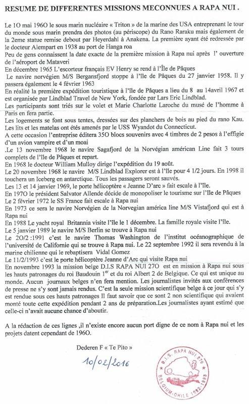 """281e article de FD: """"Résumé de différentes missions méconnues à Rapa Nui"""""""