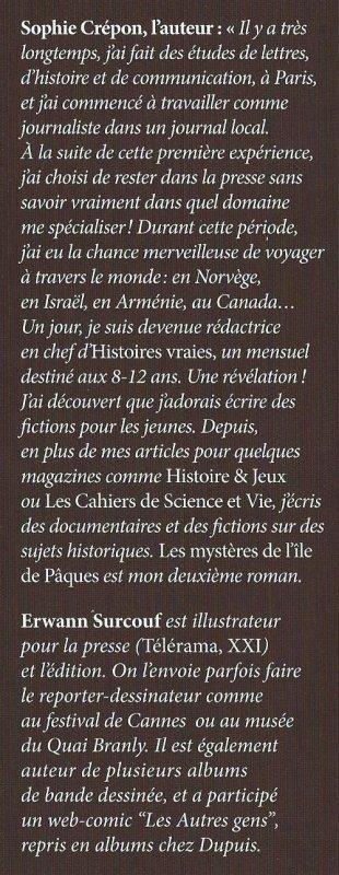 """Nouveau livre sur l'IDP de 98 pages: """"Les mystères de l'île de Pâques"""" (01/2016) de Sophie Crépon"""