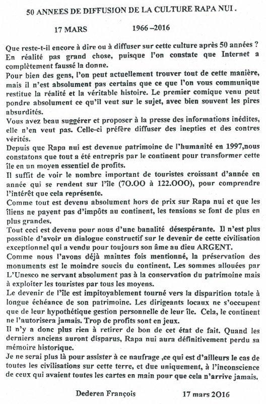 """284e article de FD: """"50 années de diffusion de la culture Rapa Nui"""" (1966 - 2016)"""