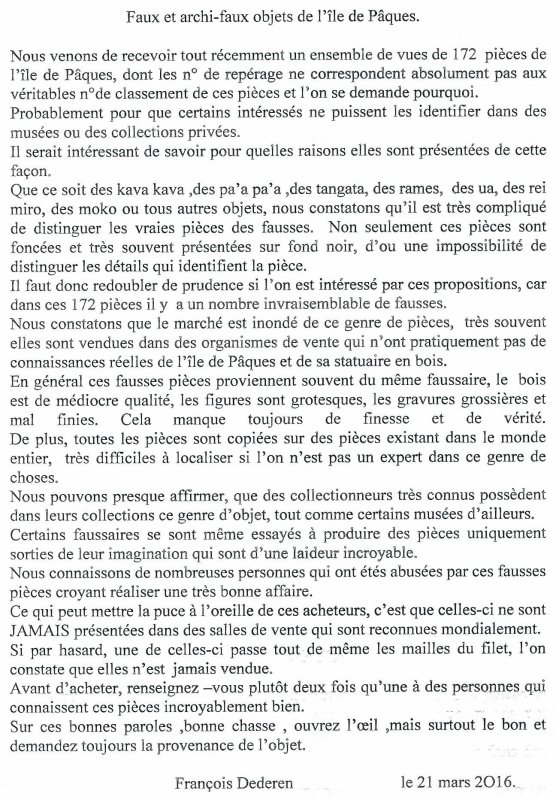 """285e article de FD: """"Faux et archi-faux objets de l'île de Pâques"""""""