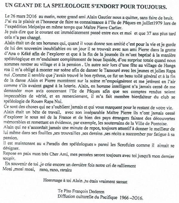"""287e article de FD: """"Un géant de la spéléologie s'endort pour toujours"""""""