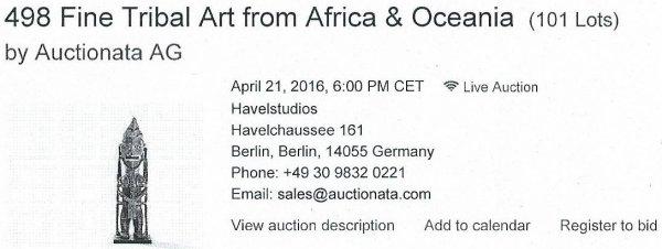 """288e article de FD: """"Vente d'objets de l'Ile de Pâques à Berlin le 21/04/2016"""" - 1"""