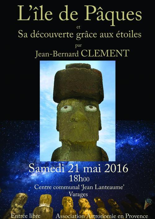 Conférences sur l'île de Pâques en France à Varages (21/05/2016) & à Paris (08/06/2016)