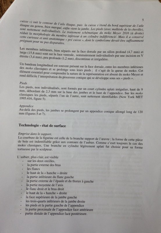 Expertise du moko par Michel & Catherine Orliac - 1