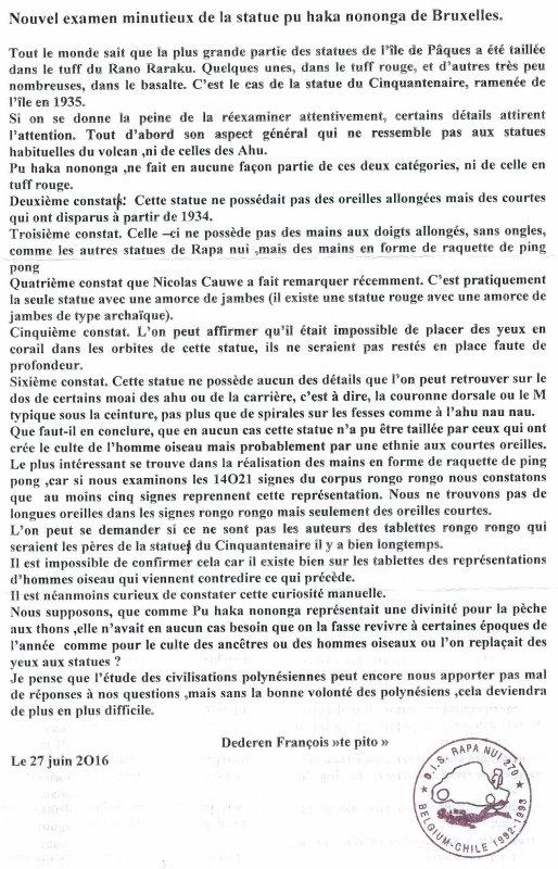 "291e article de FD: ""Nouvel examen minutieux de la statue pou haka nononga de Bruxelles"