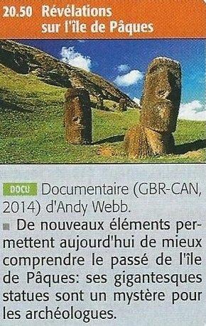 """""""Révélations sur l'île de Pâques"""" (2014) - documentaire d'Andy Webb - critique de FD"""