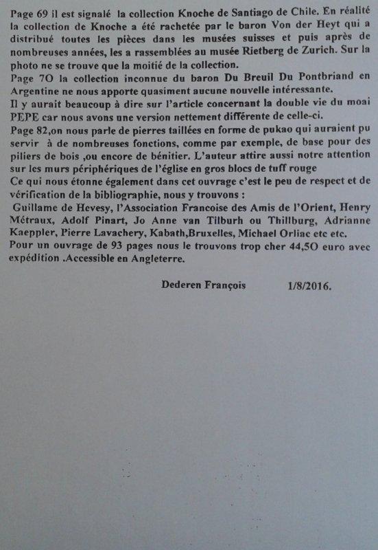 """Critique de FD concernant le livre de Daniel Schavelson et Maria Silveira """"Easter Island Arcchaeology"""""""
