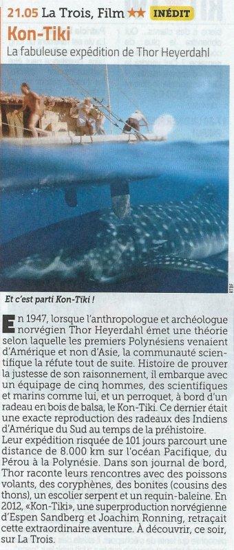 """Film """"Kon-Tiki"""" (2012) diffusé sur """"La Trois"""" (RTBF - Belgique) le 09/08/2016 à 21h05'"""