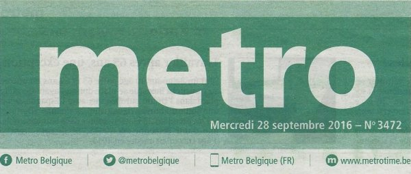 """Extrait du journal gratuit """"Metro"""" du 28/09/2016 > avis aux amateurs ..."""
