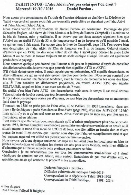 """Article de """"Tahiti Infos"""": """"L'ahu Akivi n'est pas celui que l'on croit !"""" de Daniel Pardon (14/10/2016)"""