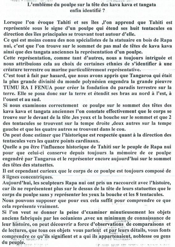 """301e article de FD: """"L'emblème du poulpe sur la tête des kava kava et tangata enfin identifié ?"""""""
