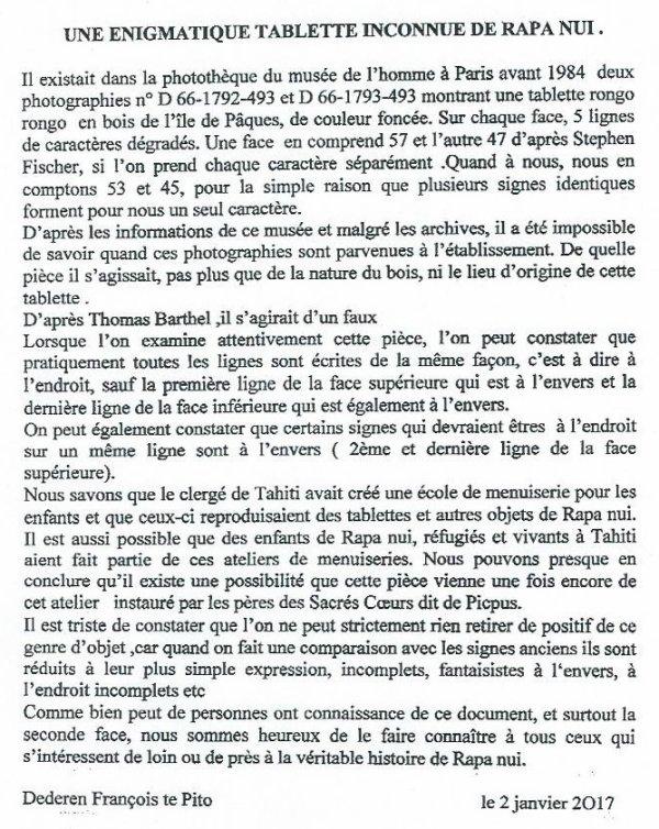 """310e article de FD: """"Une énigmatique tablette inconnue de Rapa Nui"""""""