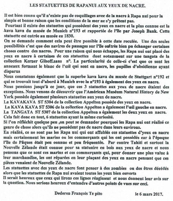 """314e article de FD: """"Les statuettes de Rapa Nui aux yeux de nacre"""""""