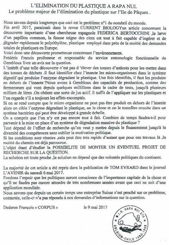 """320e article de FD: """"L'élimination du plastique à Rapa Nui"""""""